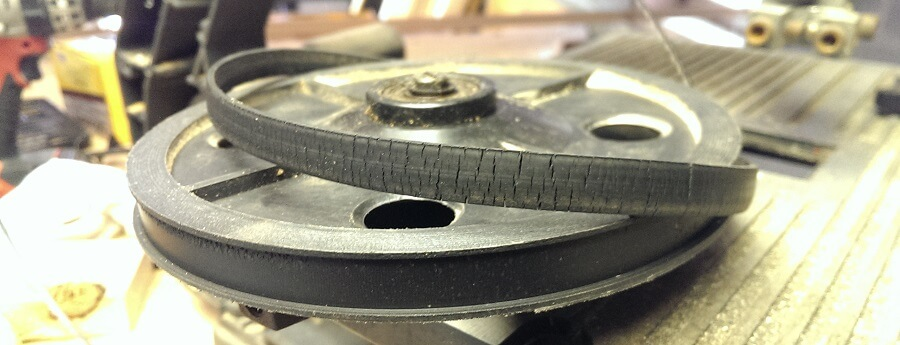 worn out rubber tires of bandsaw